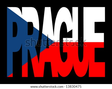 overlapping Prague text with Czech Republic flag illustration JPG