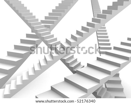 Overlapping stairway option and opportunity concept 3d illustration - stock photo