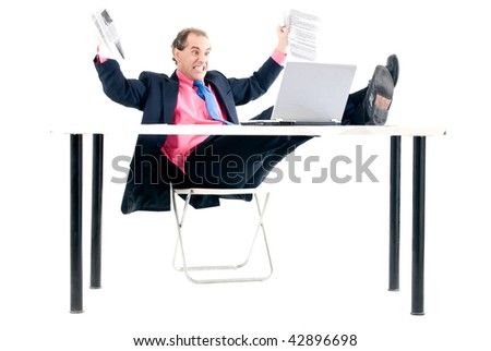 Overload businessman with computer problem on white background. - stock photo