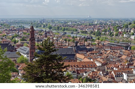 Overlook from Heidelberg Castle of the old city below and the River Neckar in Baden-Wurttemberg, Germany - stock photo