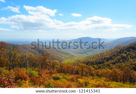 overlook of mountains in fall at Shenandoah National Park - stock photo