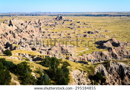 Overlook of Rock Formations at Badlands National Park - stock photo