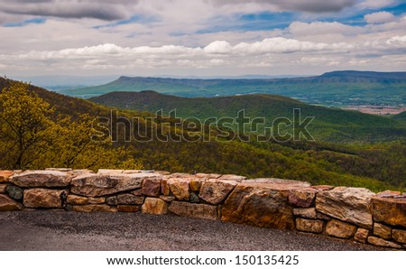 Overlook on Skyline Drive in Shenandoah National Park, Virginia. - stock photo
