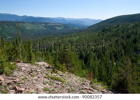 overlook over the Rocky Mountains National Park in summer - stock photo