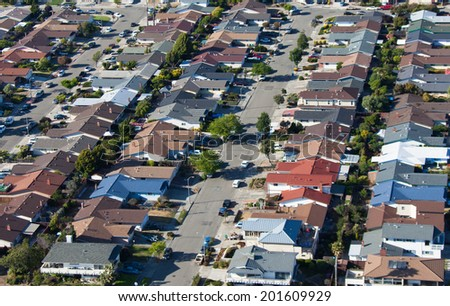 Overlooking a modern surburbia in San Francisco - stock photo