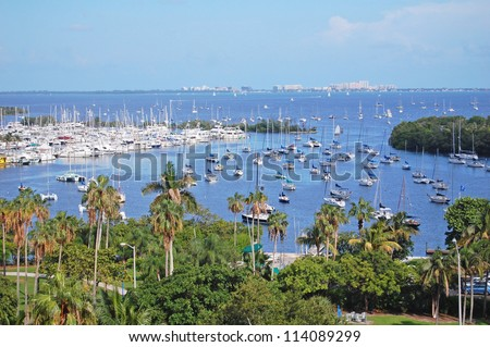 overlooking biscayne bay to key biscayne, miami - stock photo