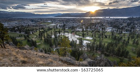 Overlooking City of Kelowna - stock photo