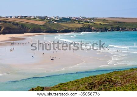 Overlooking Crantock Beach near Newquay Cornwall England UK - stock photo