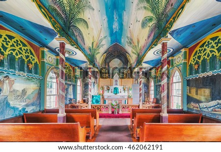 Overlooking Kealakekua Bay is St. Benedict Painted Church historical site on Big Island of Hawaii.