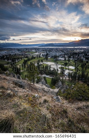 Overlooking Kelowna at Sunset from Above  - stock photo
