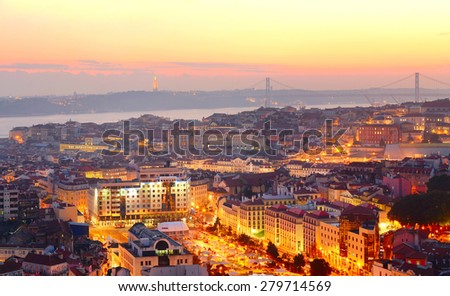 Overlooking of Lisbon in the beautiful sunset. Portugal - stock photo