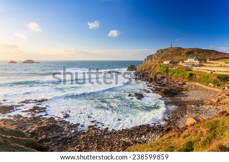 Overlooking Priests Cove at Cape Cornwall near St Just Cornwall England UK Europe - stock photo