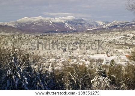 Overlooking Stowe village with Mt. Mansfield in the background, Stowe, Vermont, USA - stock photo