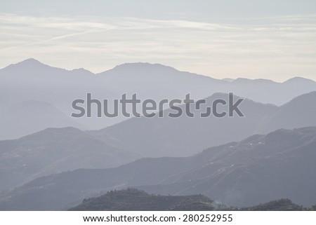 Overlooking the Apennine Mountains Ligurian inland - stock photo