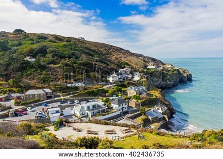 Overlooking the beach at Trevaunance Cove St Agnes Cornwall England UK Europe - stock photo