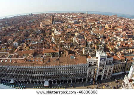 overlooking the beautiful city and old palaces  of venice with the laguna from the Markus tower - stock photo