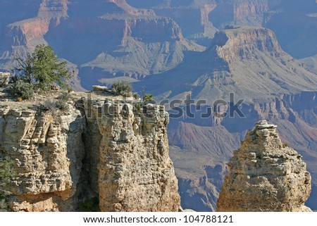 Overlooking the magnificent Grand Canyon in Arizona, USA - stock photo