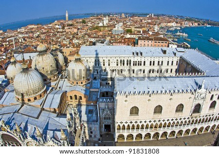overlooking the marcus church in venice from campanile de San Marco - stock photo