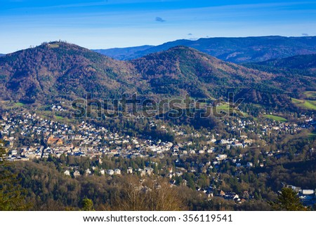 Overlooking the valley of Baden Baden with the Merkur mountain and Black Forest_Baden-Baden_Germany