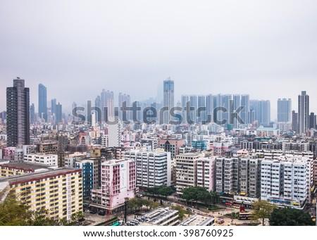 Overlooking view of Sham Shui Po, Hong Kong - stock photo