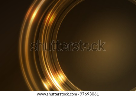 Overlying semitransparent ring segments with light effects form a golden glowing circular frame on dark brown background. Space for your message. - stock photo