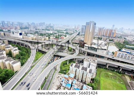 overpass and a lot of cars in Hangzhou - stock photo