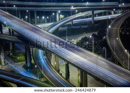 overpass at night, shanghai  china. - stock photo