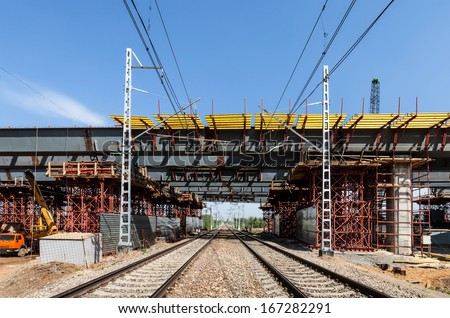 Overpass construction under railways in Russia - stock photo