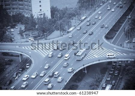 Overpass in china city chengdu - stock photo