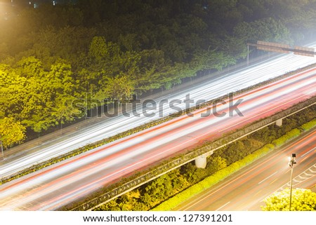 overpass in night of city. - stock photo