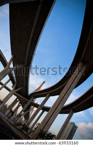 overpass on background of blue sky in Thailand. - stock photo