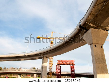 Overpass on construction site - stock photo