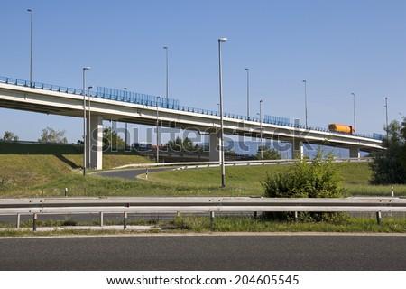 Overpass on highway near capital Zagreb in Croatia - stock photo