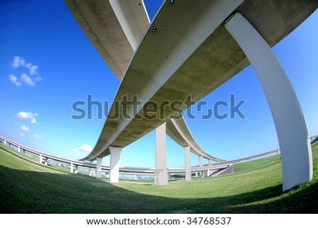 overpass with fisheye perspective and vivid colors