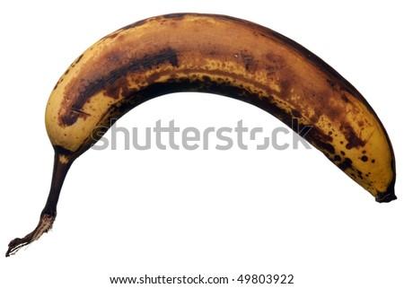 Overripe banana fruit. Isolated over white background. - stock photo
