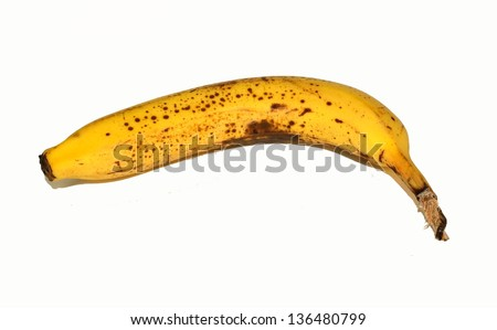Overripe banana on a white background.