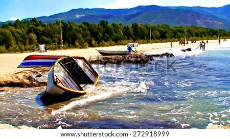 Overturned fishing boats digitally painted - stock photo