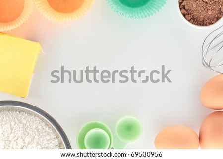 Overview Baking Cupcakes on White Bench - stock photo