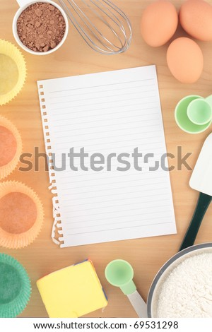 Overview Baking Cupcakes on Wood Bench - stock photo