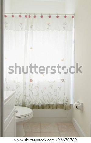 Overview of a small outdated bathroom in a private residence - stock photo