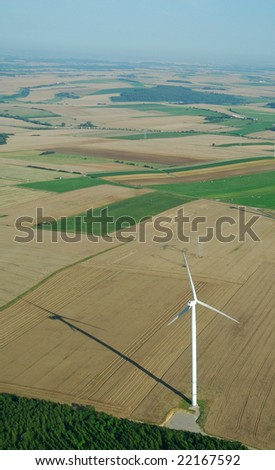 Overview of a windturbine in France Europe - stock photo