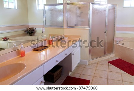 Overview of an outdated bathroom in a private residence - stock photo