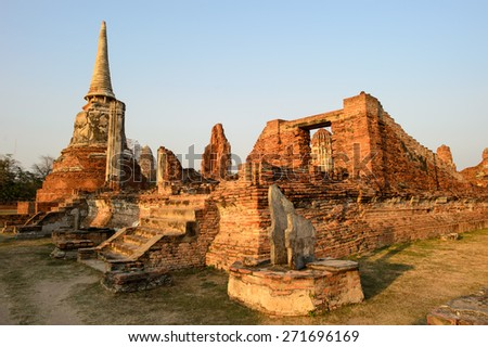 Overview of Ayutthaya temples in Thailand. Ruins of ancient brick walls, old pagoda. - stock photo