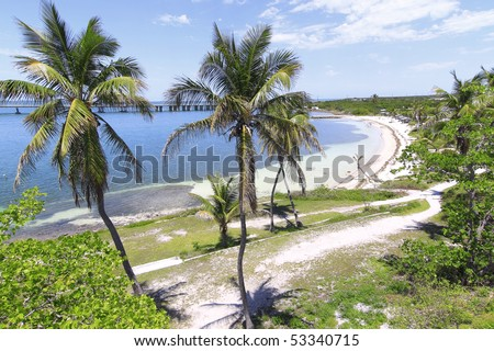 Overview of Bahia Honda Key In the Florida Keys with the new bridge - stock photo