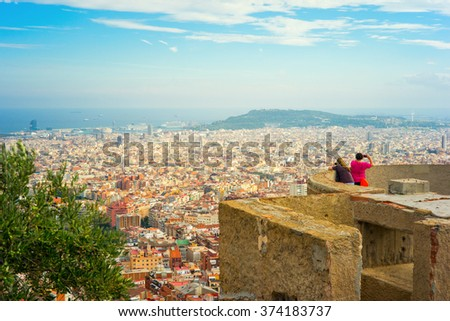 Overview of Barcelona city, Catalonia, Spain,