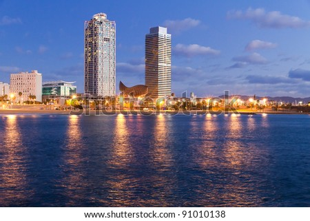Overview of Barcelona Spain to Mananecer, Taken from the Barceloneta beach. - stock photo