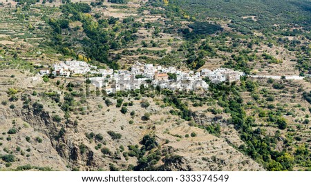 Overview of Bayarcal from Puerto de la Ragua mountain pass over the Sierra Nevada mountains in Andalucia, Spain - stock photo