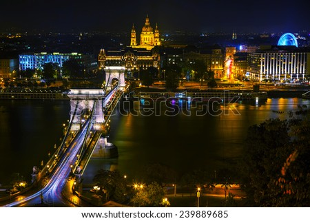 Overview of Budapest with the Szechenyi Chain Bridge in Budapest - stock photo