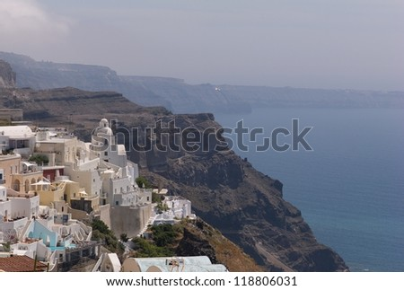 Overview of buildings in Santorini Greece