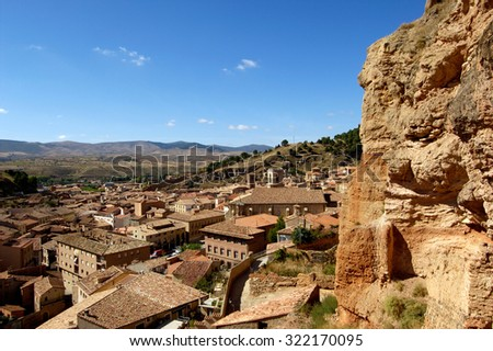 Overview of Daroca, Zaragoza province, Spain